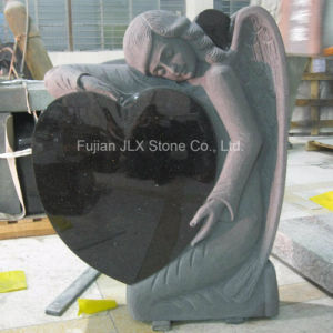 European Black Granite Angel Heart Design Headstones pictures & photos