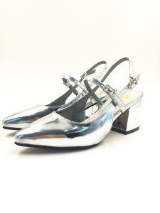 Metalic Silver Sandal for Summer Women Heel Sandal