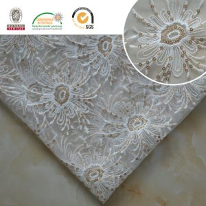 Meltpoly Embroidery with Lurex Lace Fabric Dress Textile pictures & photos