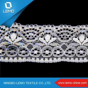 Soft Textile Embroidery Lace Fabric, White Beaded Skull Lace Fabric pictures & photos