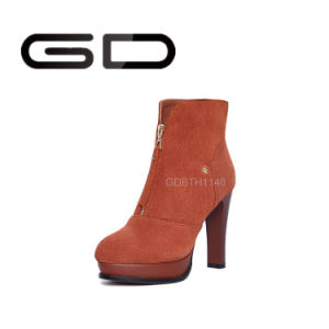 Gd Fall Latest Dual-Wool Stovepipe Ladies Tall Boots pictures & photos