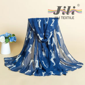 Fashion Top Selling Wholesale Factory Lovely Pretty Girls Europe Wrap Hijab Beach Shawl Chiffon Viscose Dog Print Animal Scarf pictures & photos