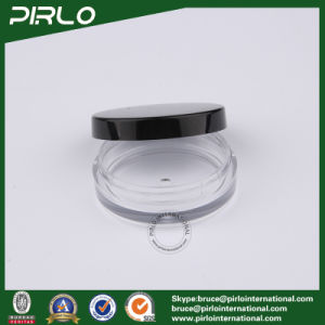 15g 0.5oz Clear Plastic Flat Shape Cosmetic Jar with Black Locking Lid Black pictures & photos