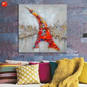 Home Decor Eiffel Tower Cartoon Style Wall Picture Oil Painting pictures & photos