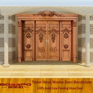 Luxury Antique Carved Wood Door Four Leaf Entrance Door (XS1-018) pictures & photos