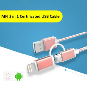 Factory Supply Colorful Nylon Braided Cable 2 in 1 USB Data Charging Cable for iPhone or Android pictures & photos