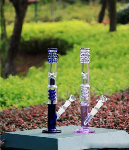 Purple Blue Honeycomb Recycler Glass Water Pipes Smoking Pipe pictures & photos