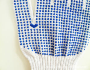 Genuine Di-Covered Cotton Blue Wave Point Plastic Gloves for Working pictures & photos