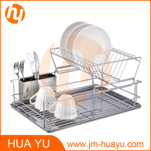 2-Tier Dish Rack with Cutlery Holder & Drainer Board pictures & photos