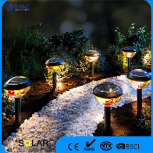 Solar Powered Stake Garden Light with Painted Lampshade pictures & photos