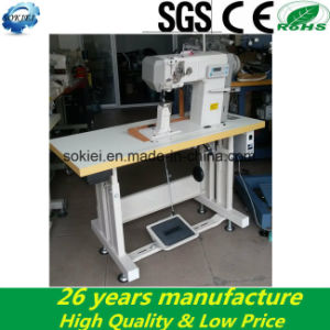 Heavy Duty Post Bed Computer Roller Feed Double Needles Sewing Machine for Shoes pictures & photos