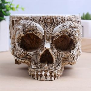 Decorative Plant Flowerpot Hand Carved Resin Human Skull Pot Home pictures & photos
