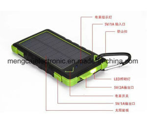8000mA Polycrystal Silicon Solar and Plug-in Charging Dual USB LED Torch Ce FCC RoHS Certified Rechargeable Power Bank