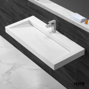 2017 Artificial Stone Hand Bathroom Vanity Wash Basin Wall Hung Basin pictures & photos