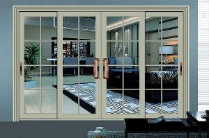 Main Gate Design Double Tempered Glass Aluminum Sliding Door pictures & photos