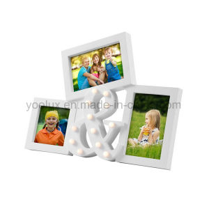 Plastic Multi Openning Home Decoration LED Light Collage Photo Frame pictures & photos