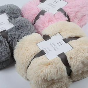 Solid Long Hair Ultra Plush PV Velvet Double Layer Blanket pictures & photos