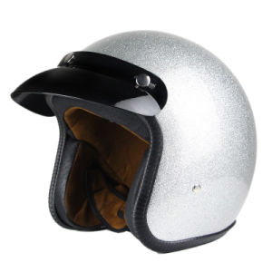 Motorcycle Motorcycle Half Open Face Leather Helmet with Goggles pictures & photos