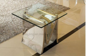 Stainless Steel Mirror Glass Side Coffee Table
