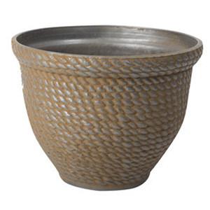 Big Flower Pot Reed Pattern Outside Plastic Pot