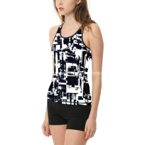 Polyester Spandex Black and White Sublimation Ladies Workout Fitness Tank Top Stringer pictures & photos