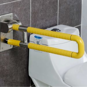 Wall Mounted Nylon Coated U-Shaped Folding-up Grab Bars for Washroom pictures & photos
