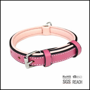 Luxury Best Real Leather Padded Pink Dog Collar pictures & photos
