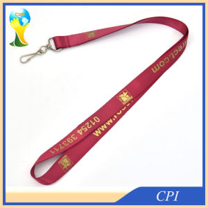 High Quanlity Nylon Lanyard with Gold Color Logo pictures & photos