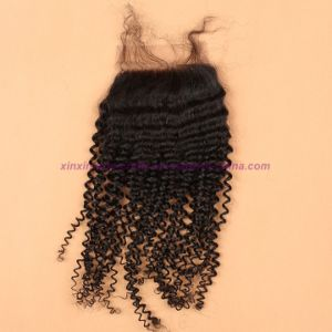 8A Peruvian Virgin Hair with Silk Base Closure Kinky Curly with Silk Base Closure Kinky Curly Virgin Hair with Closure pictures & photos