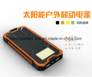 12000mA Polycrystal Silicon Solar and Plug-in Charging Dual USB with Camping Light Ce FCC RoHS Certified Rechargeable Power Bank pictures & photos