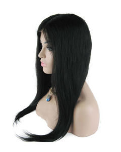"18"" #1b Straight Lace Front Wig pictures & photos"