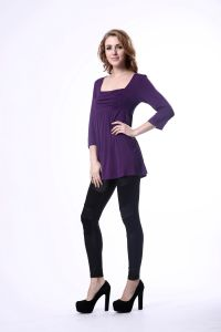 Women Spring New Design Normal Blouse Purple Tunic Frill Blouse pictures & photos