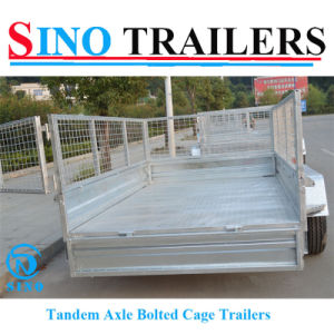 Tandem 10*6 Galvanized Box Cage Livestock Trailers pictures & photos