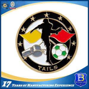 Football Promotion Coin with Soft Enamel and Epoxy (Ele-C053) pictures & photos
