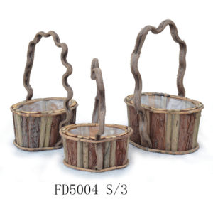 2017 Manufacturer New Item Round Rattan Flower Pot with Art Handle for Balcony and Garden Decoration pictures & photos