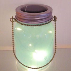 Summer Favor Light Blue Glass Solar Flicker LED Jar Light pictures & photos