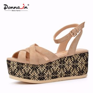 Lady Fish Mouth High Heels Flat Weave Platform Women Sandals pictures & photos
