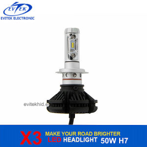 LED Headlight Fanless 50W 6000lm X3 H7 LED Headlight Bulbs Conversion Kit for Car Headlight Replacement pictures & photos