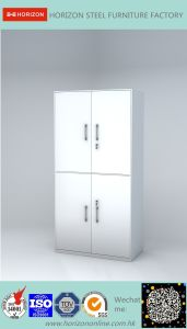 Steel High Storage Cabinet with Upper and Lower Steel Framed Swinging Glass Doors pictures & photos