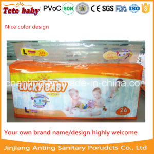 Super Lucky PE Film Cheap Baby Diaper with PP Tapes pictures & photos