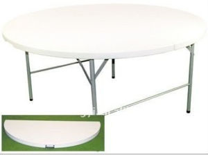 4 Feet Plastic Folding in Half Round Dining Table pictures & photos