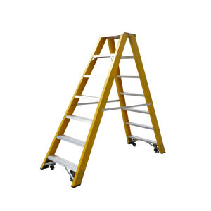 35kv Yellow Fiberglas 7 Step Ladder with Casters pictures & photos