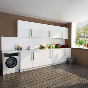 Oppein Australia Villa Project White Lacquer Wood Laundry Cabinets (OPW-L01) pictures & photos