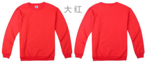 Factory Price Unisex Plain Red Round Neck Fleece Sweater pictures & photos