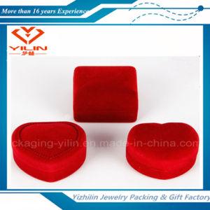 Cheap Red Heart Shaped Flocked Velvet Ring Earring Jewelry Box