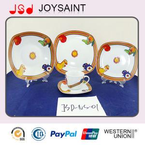 Carton Decal Square 5PCS Dinner Set Porcelain Plate pictures & photos
