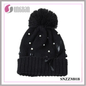 High Quality Winter Multicolor Women Pearl Bow Knit Hat Fur Ball Wool Cap pictures & photos