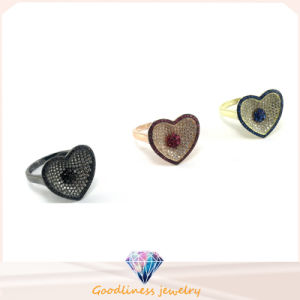 Fashion Jewelry Rhodium Plated Silver Ring Heart Shape Fashion Silver Ring (R10147) pictures & photos
