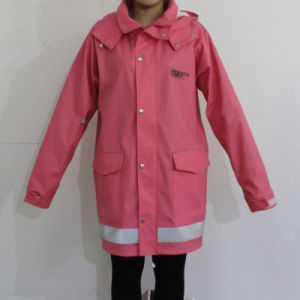 Dark Pink Hooded Waterproof PU Raincoat pictures & photos