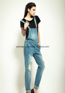 High Quality Classic Denim Ladies Jeans Overall Women Ripped Pants pictures & photos